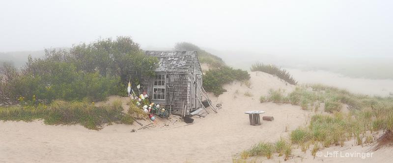 Dune Shack in Fog pano