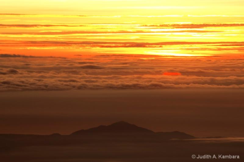Japan sunset at 20,000 feet