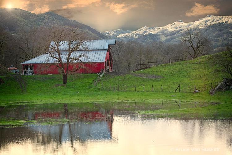 barn with a rain generated lake