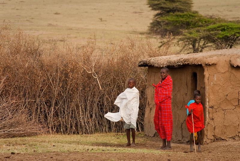 Masaii Village Scene