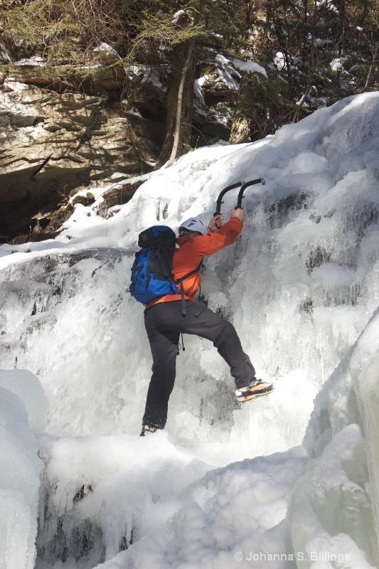 Climbing in the Waterfall