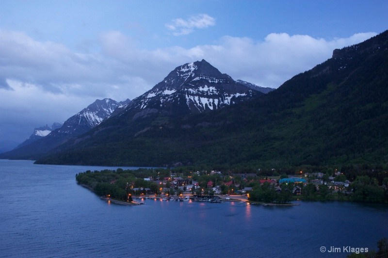 Waterton Townsite after Sunset