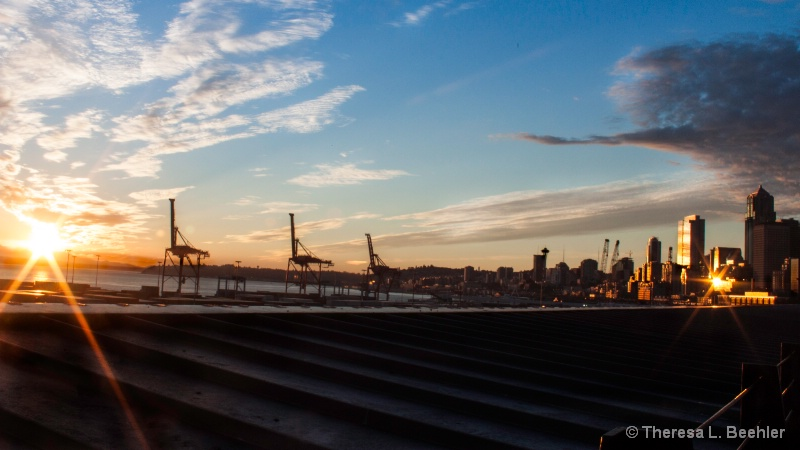 Golden Sunset of The Emerald City - Seattle