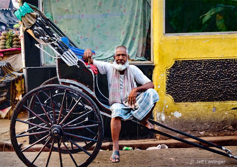 Hand Pulled Rickshaw and wallah, Calcutta, India