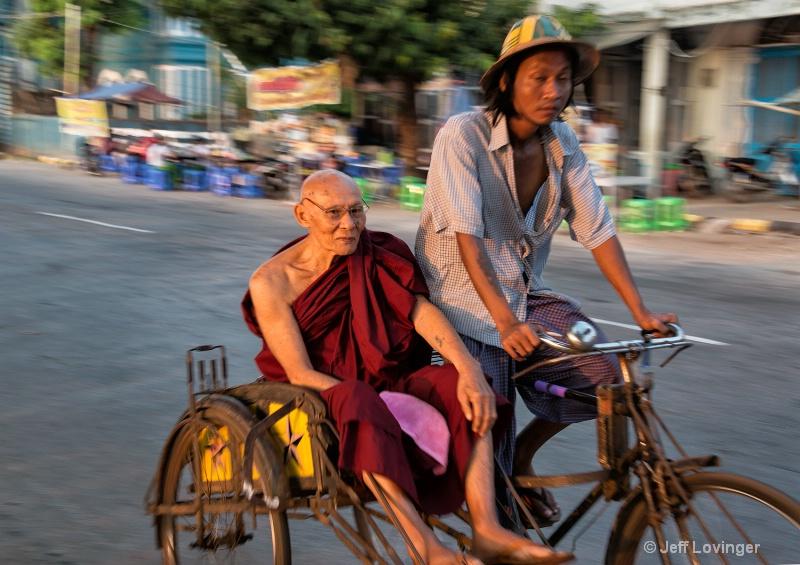 Monk in Sai Kaa Rickshaw, Mawlamyine, Myanmar