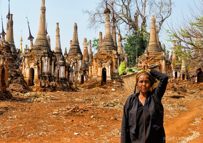 Villager at Temple Ruins, Inthein, Inle Lake, Myan