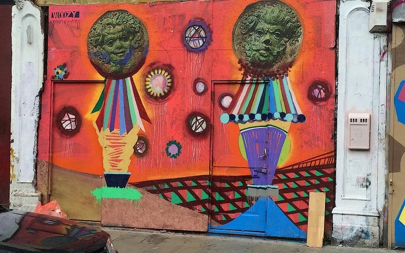 Sculptures and Graffiti at Driveway