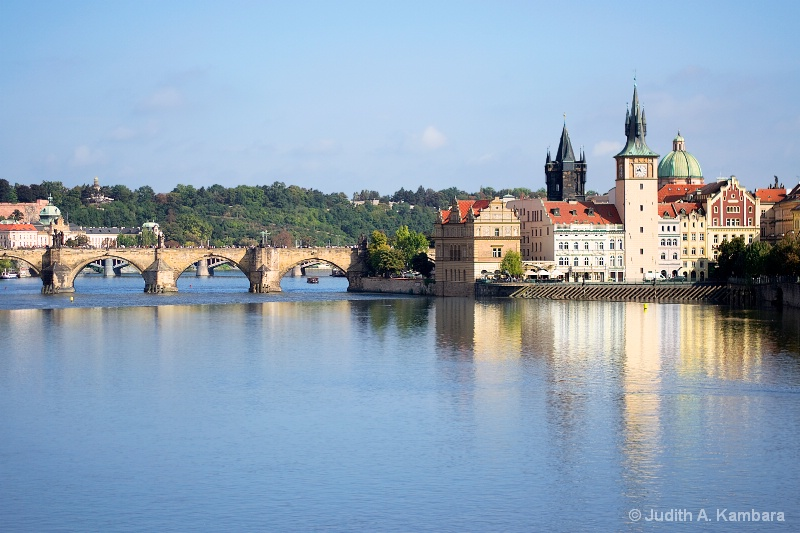 Vltava River toward the Charles Bridge