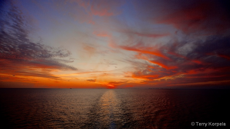 Sunset leaving Miami on a cruise