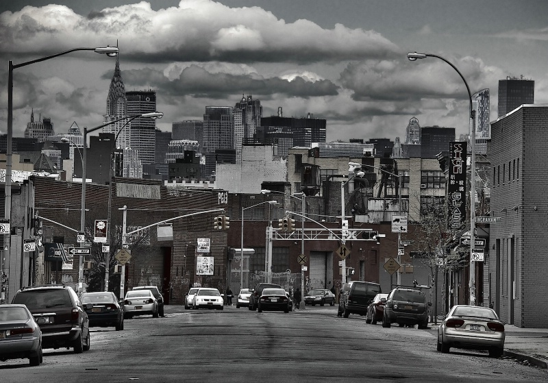 Manhattan from a Brooklyn Street