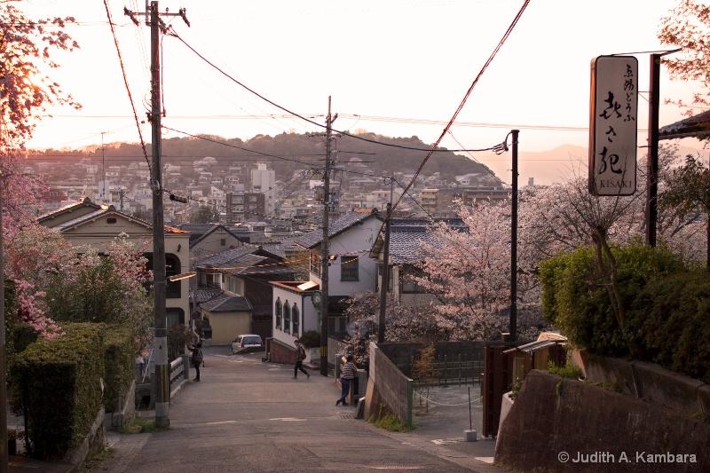 twilight in a Kyoto neighborhood