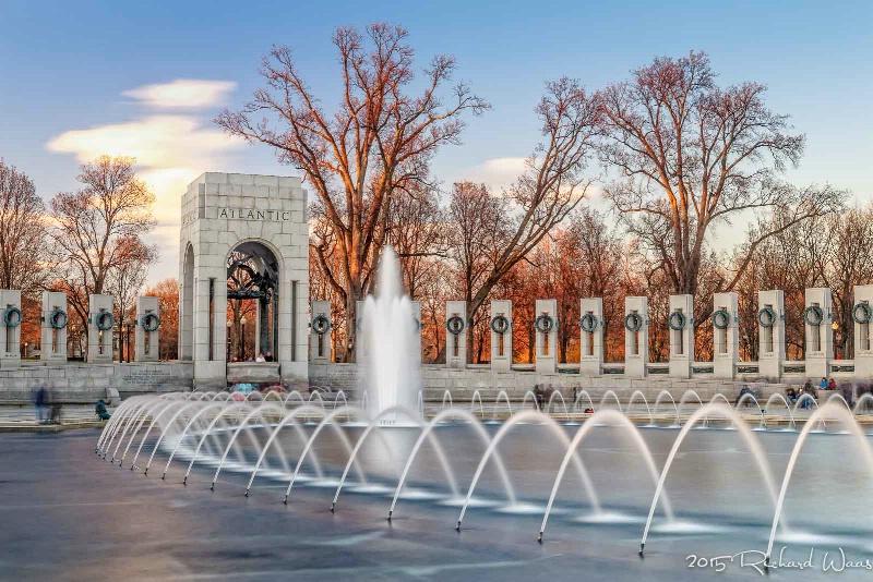 World War II Memorial at Sunset
