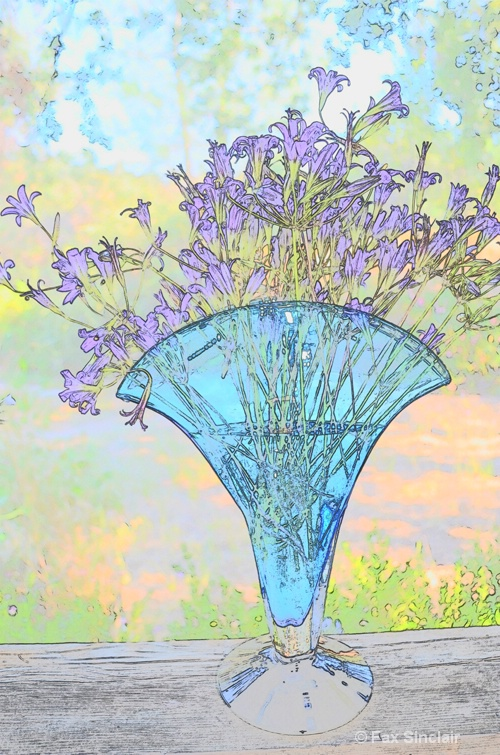 Blue Vase with Wildflowers