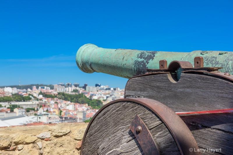 Ancient Gun Overlooking Lisbon Portugal