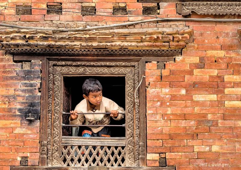 Boy in Window, Bhaktapur, Nepal #806
