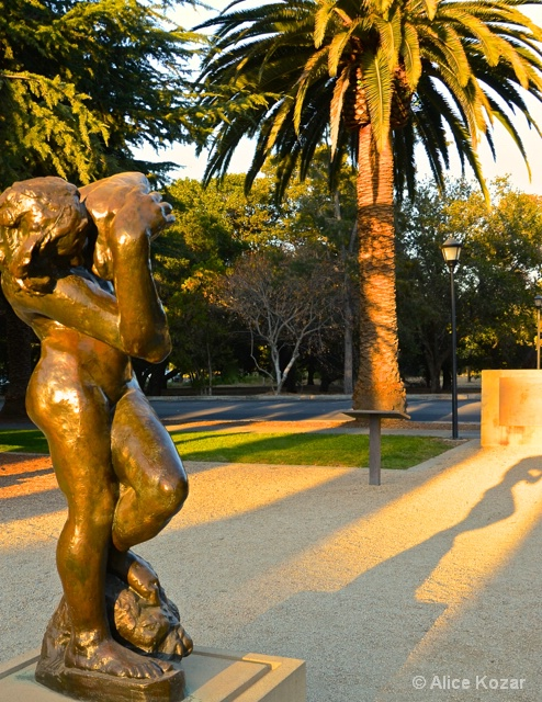 Rodin Statue at Stanford in Evening Light