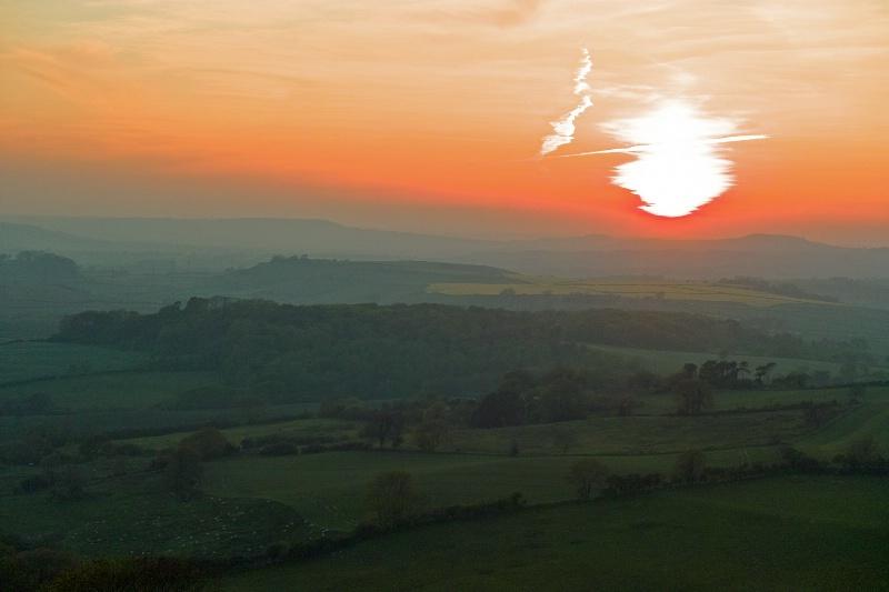 Spring sunset towards Eggardon
