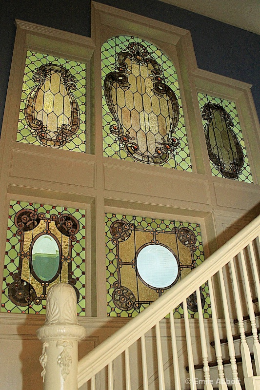 Stairs and stain glass