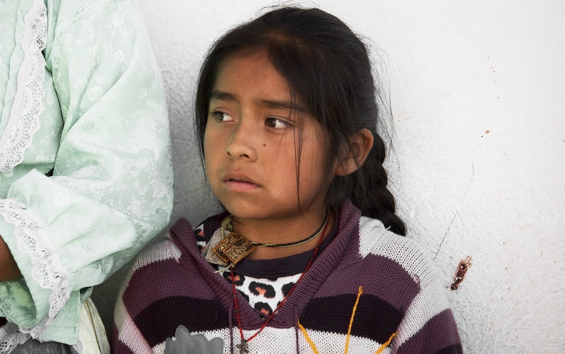 Mazahua Child in Black and White