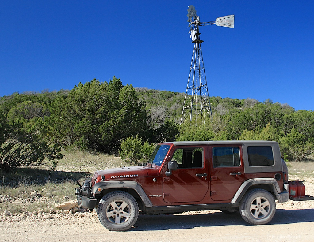 Jeep and windmill