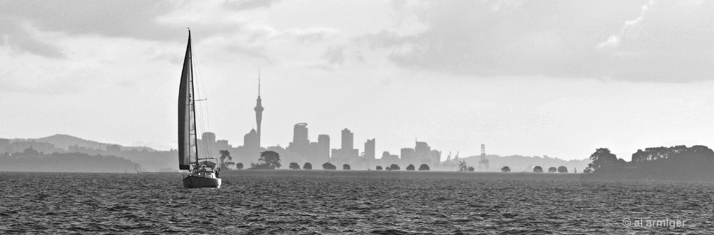 Silhouetted Cityscape from the Sea DSC 0029 bw