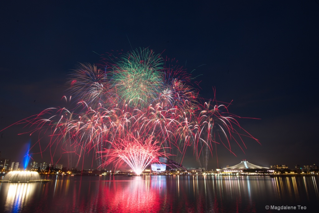 Composite photos of Fireworks with Blue Hour