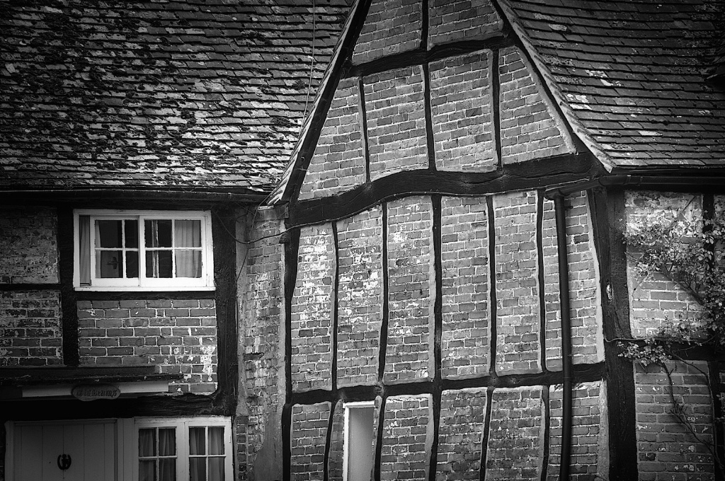 Cobstone English House in Black and White