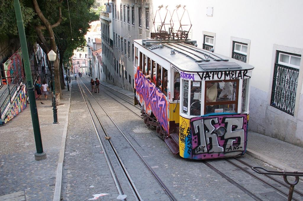 Lisbon Street art in a tram
