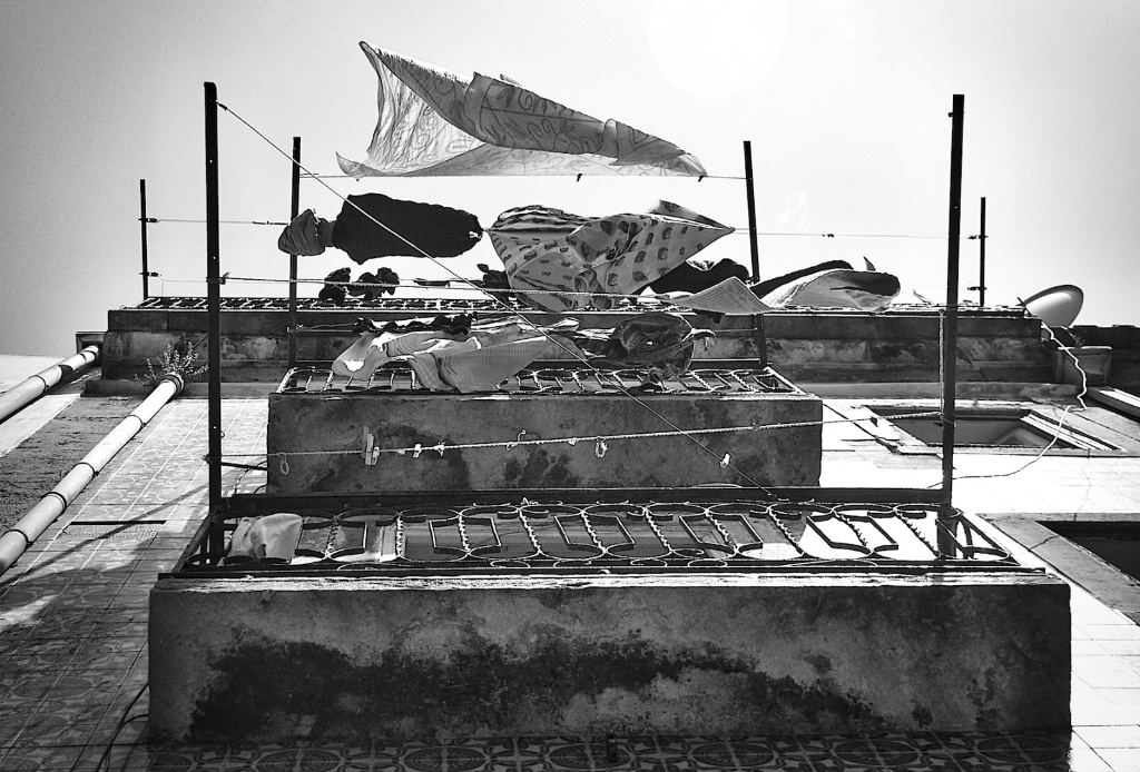 Washing Line in the Alfama in B/W
