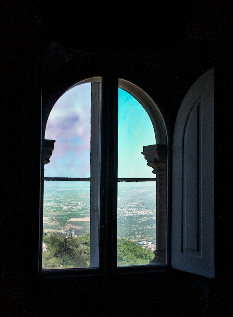 View ron the Castle through a Window