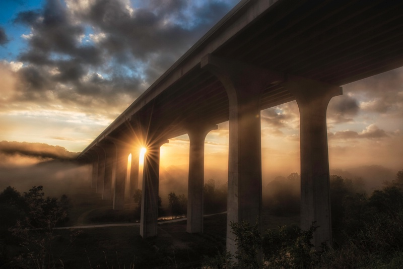 Bridge in the Morning Mist