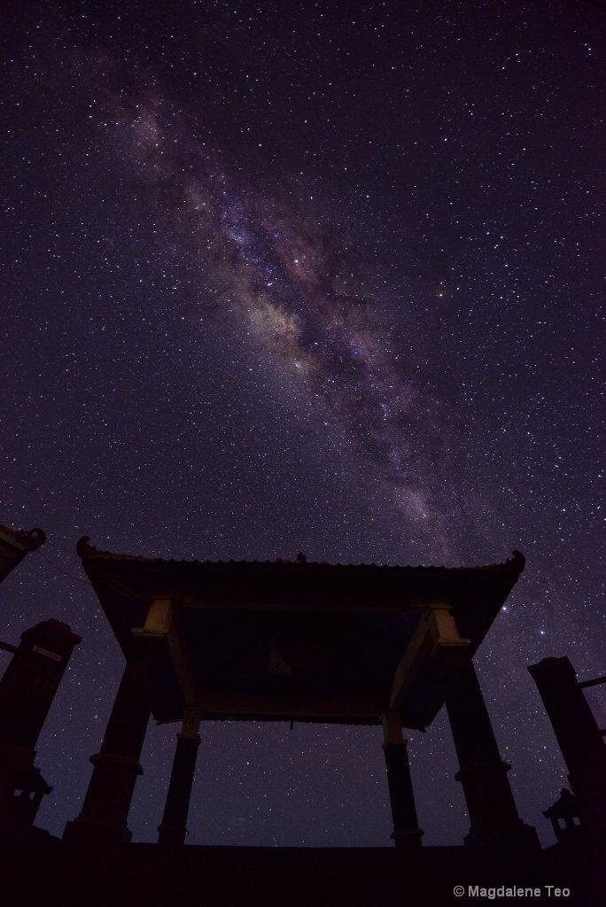 Milky Way above the Pavilion at Bromo, Indonesia