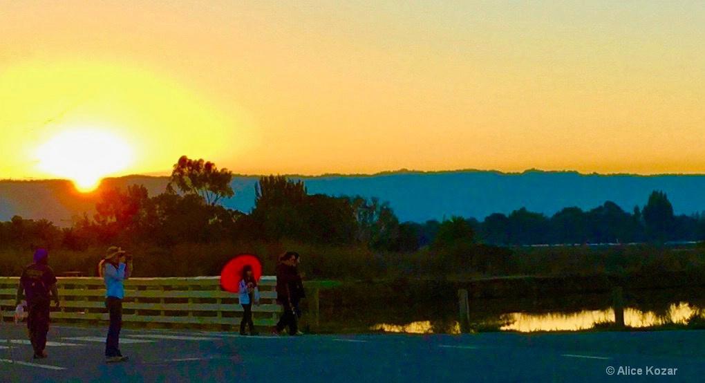 Sunset - Red Umbrella