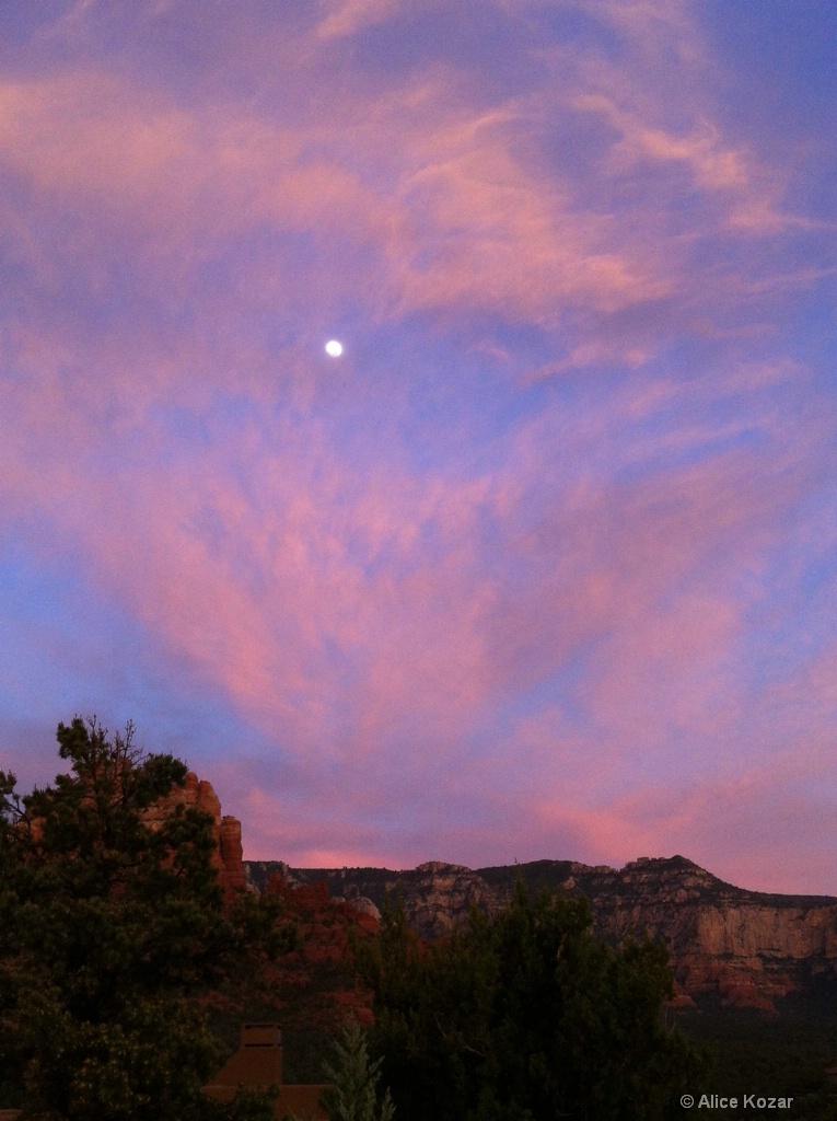 Sedona Sunset with Bright Moon