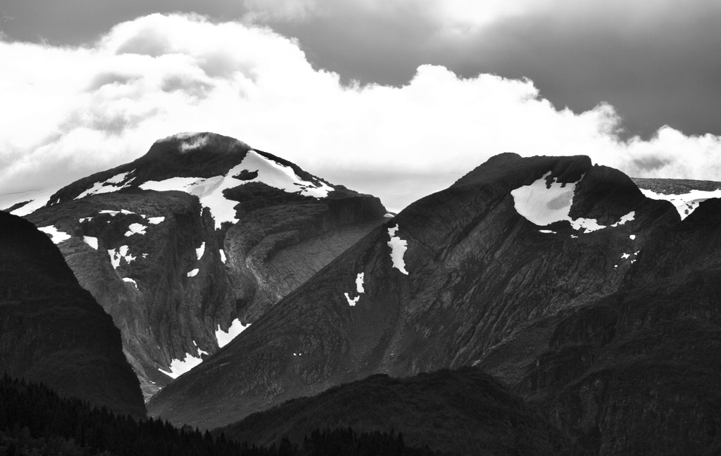 Peaks with Summer Snow Monochrome