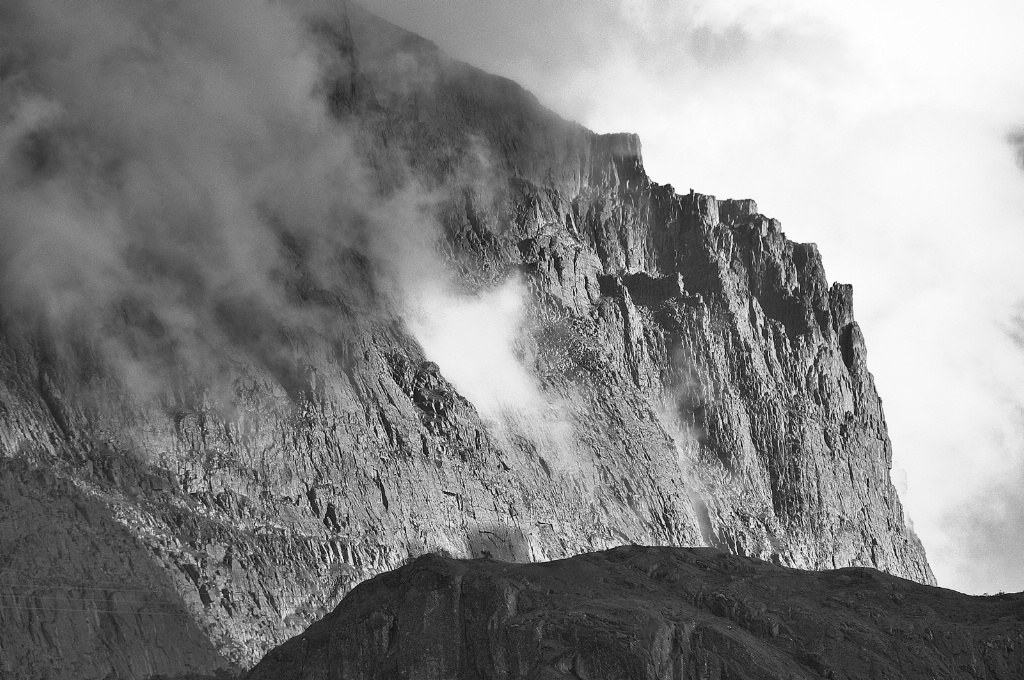 Eroded Mountain and Rising Clouds