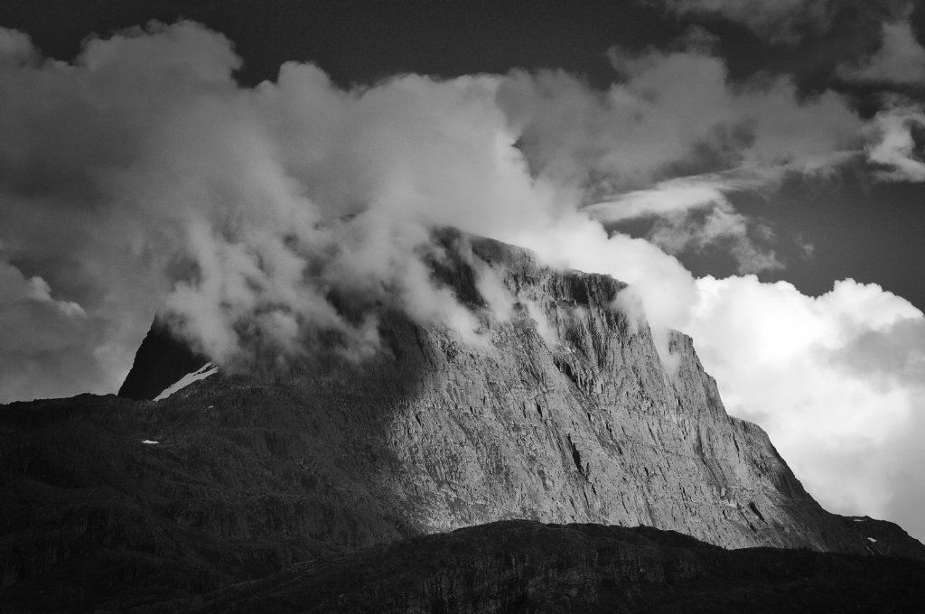 Clouds Crowning a Mountain in BW