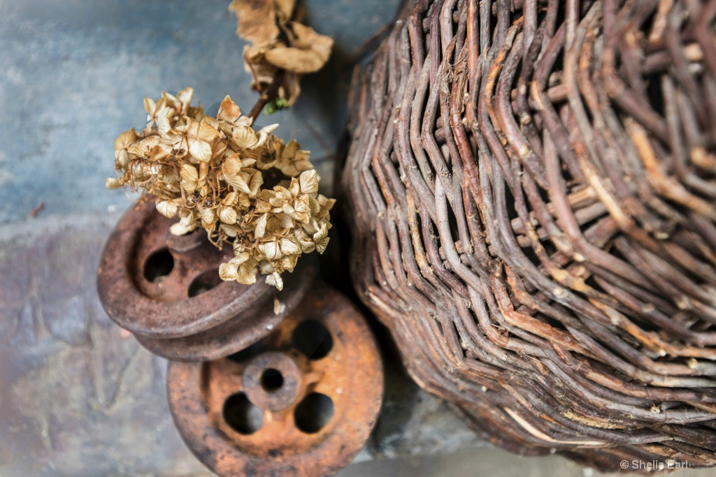 Bee Hive Basket with Hydrangea