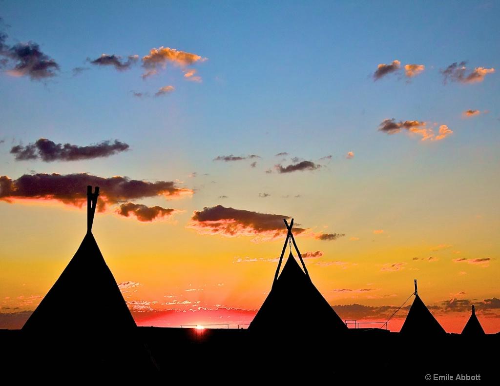 Teepees at dawn
