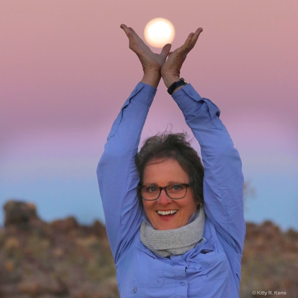 Kitty with Moon in Namibia