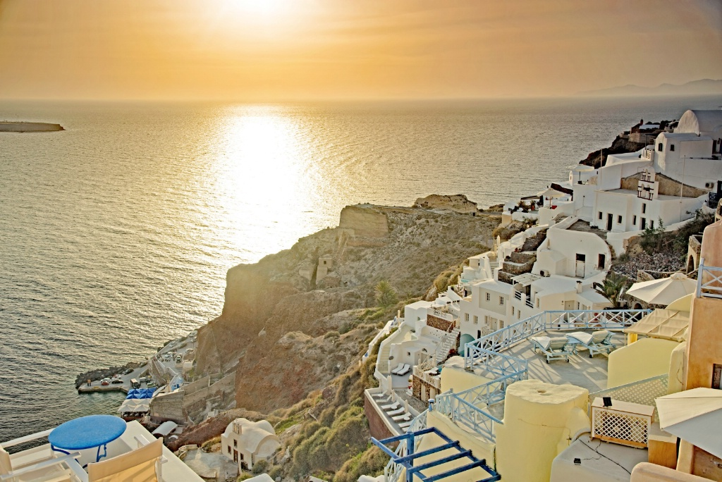 Sunset at Oia, Santorini island.