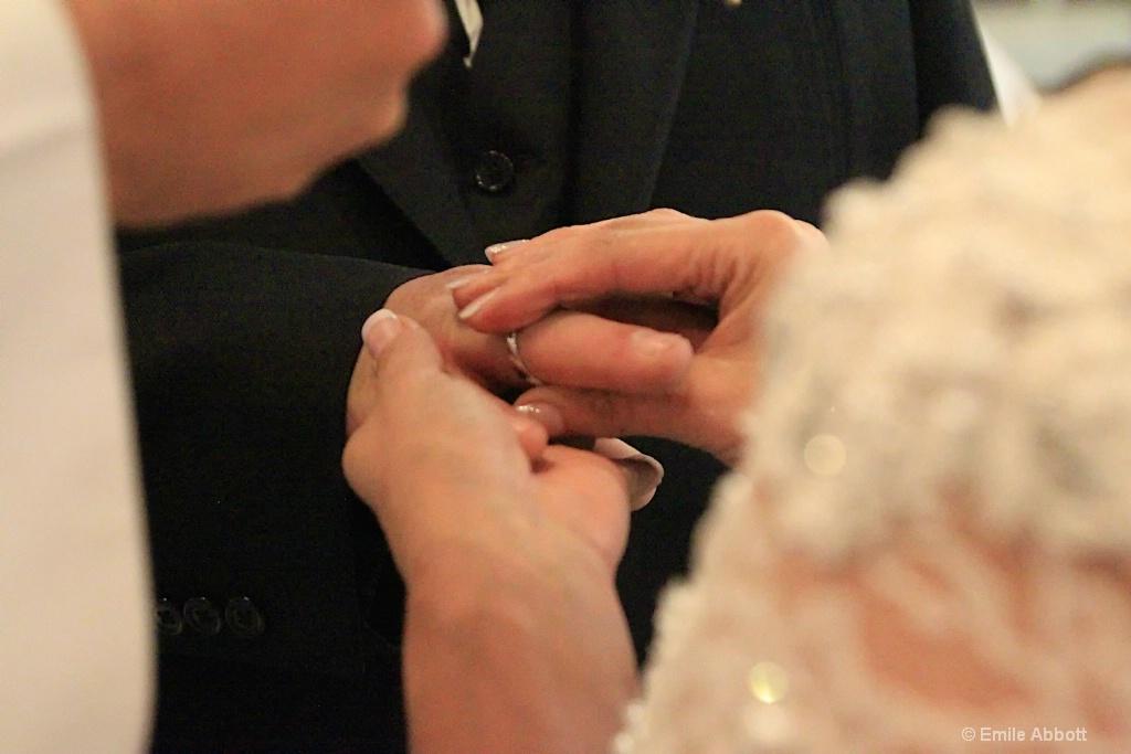 Bride placing ring