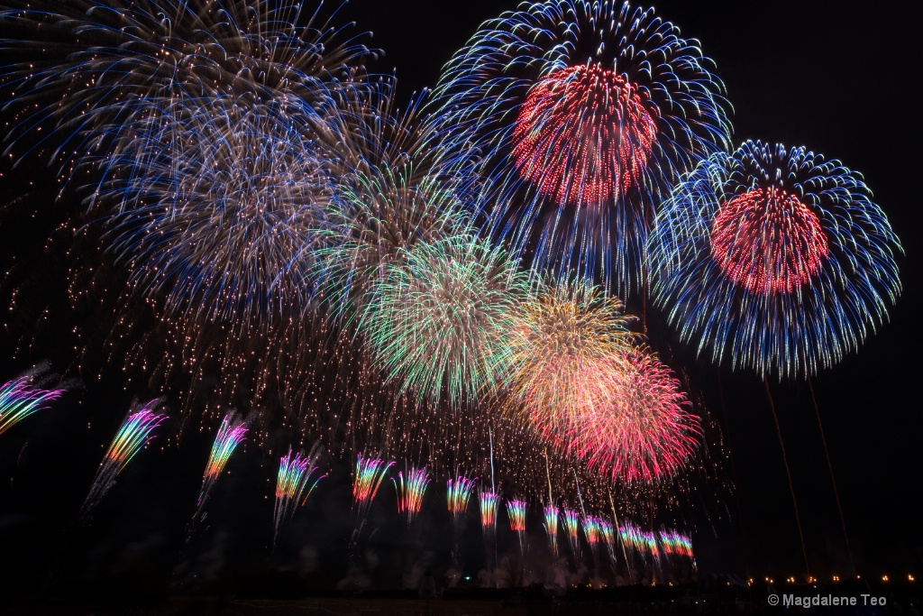 Composite shots of the Autumn Fireworks in Japan