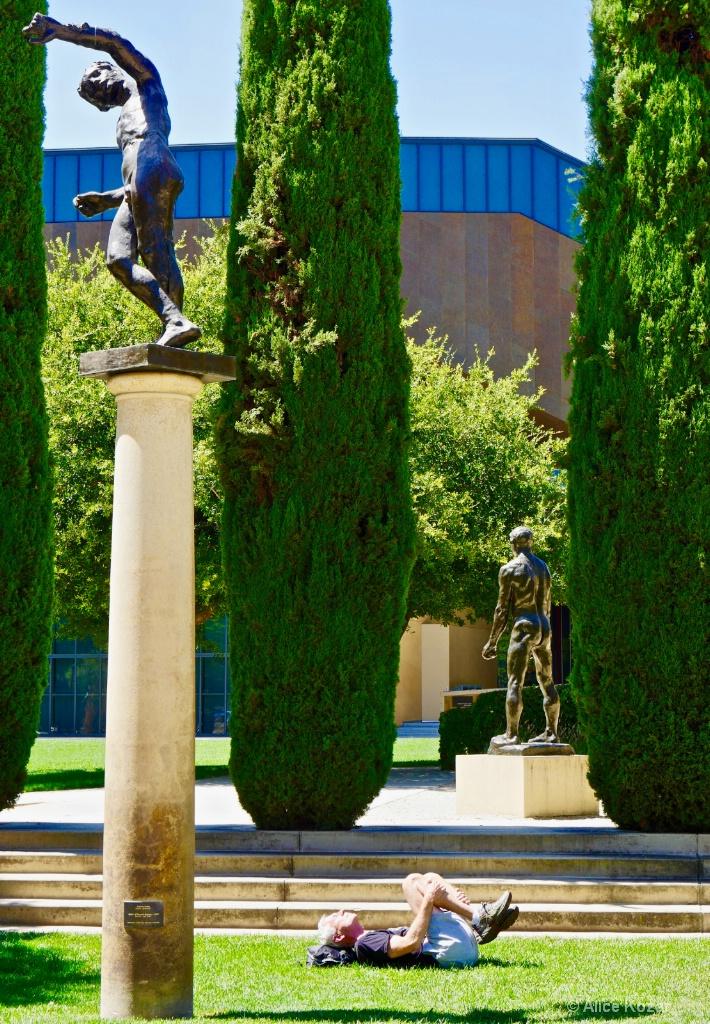 Supine Knee Flex in Rodin Sculpture Garden