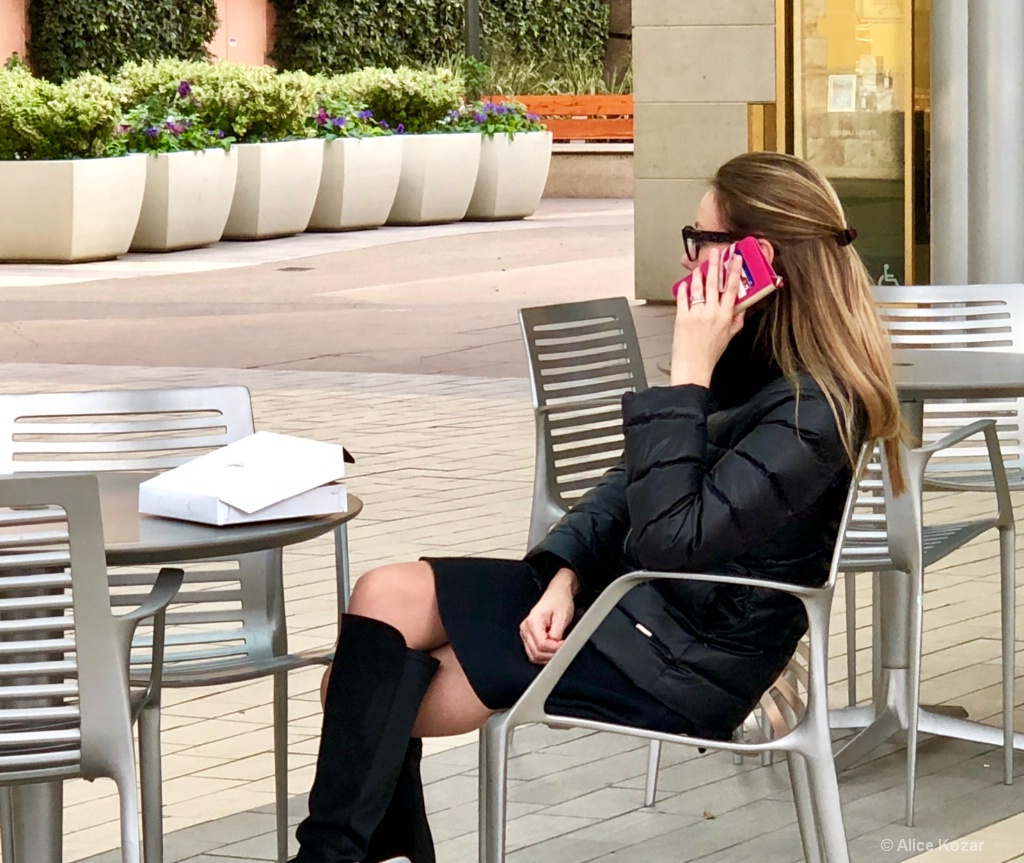Sheek in Black with Red Phone