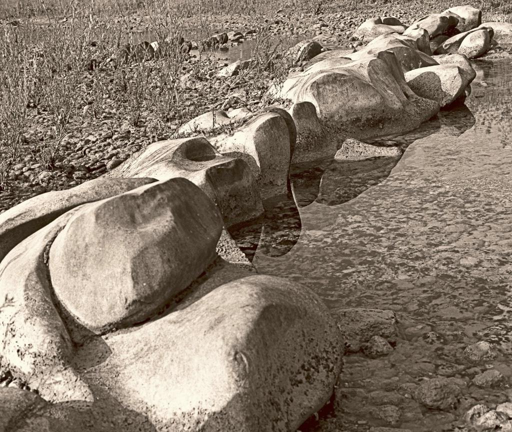 Boulders along the river side.