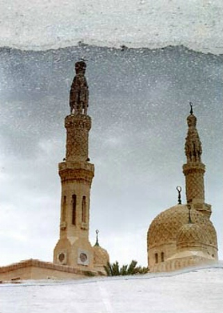 Rain Puddle Reflection of Jumeirah Mosque