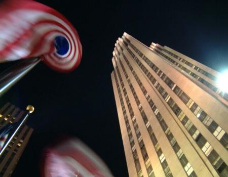 Swirling Flag at Rockefeller Plaza