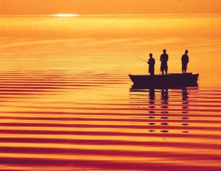 Photography Contest Grand Prize Winner - February 2003: Boys Fishing on Honeoye Lake