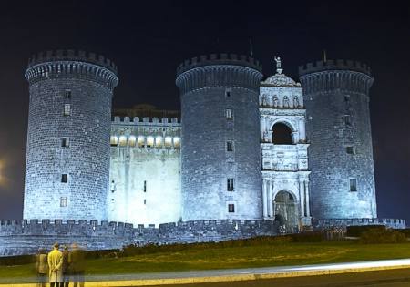 Castel Nuovo at Night in Naples, Italy